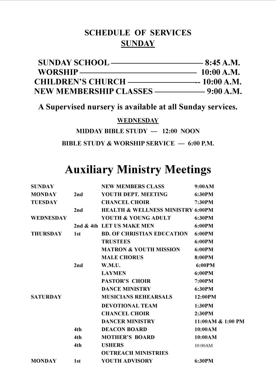 NSM Ministry Meeting Schedule